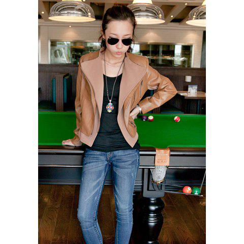Fashionable Lapel Motorcycle PU Leather Women's Short Jacket - BROWN M