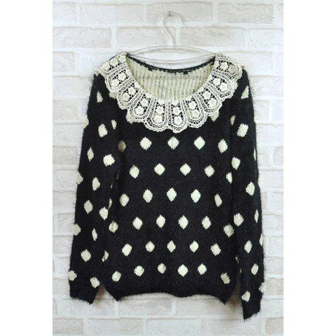 Cute Lace Scoop Neck Polka Dot Pattern Long Sleeve Women's Sweater - BLACK ONE SIZE