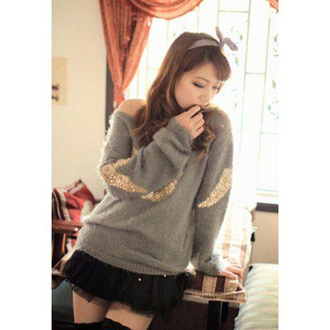 Stunning Scoop Neck Sequin Embellished Wing Pattern Women's Sweater - GRAY ONE SIZE