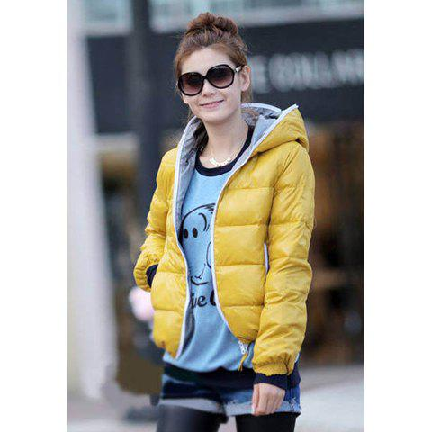 Long Sleeve Hooded Women's Cotton Padded Coat - YELLOW L