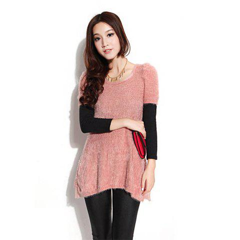 Stylish Scoop Neck Slimming Fitting High-Low Hem Puff Women's Short Sleeve Sweater - LIGHT PINK ONE SIZE