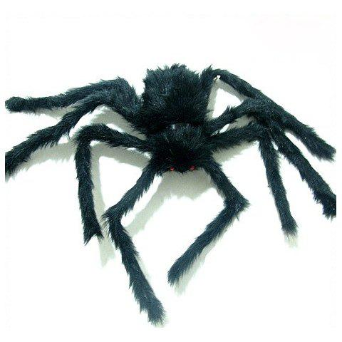 Top Grade Frightening Black Plush Spider with Red Eyes For Halloween - BLACK