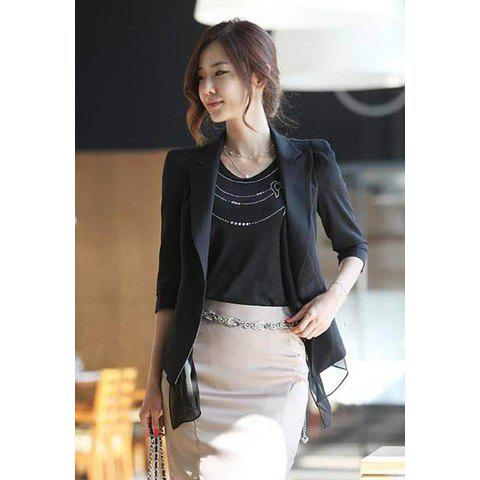 Slim Fit Splicing Chiffon Three Quarter Sleeve Women's Blazer - BLACK S