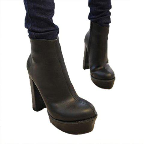 Casual Solid Color Chunky Heel Zipper Design Women's Boots - BLACK 35