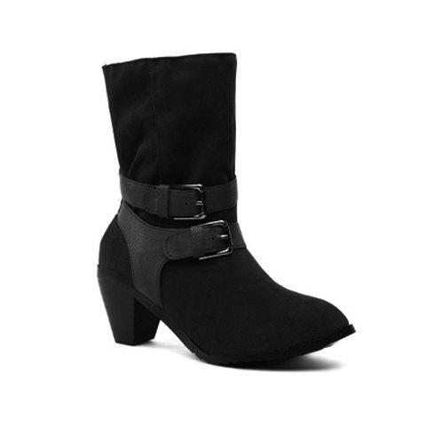 Casual Solid Color Belts Buckles Chunky Heel Design - BLACK 35