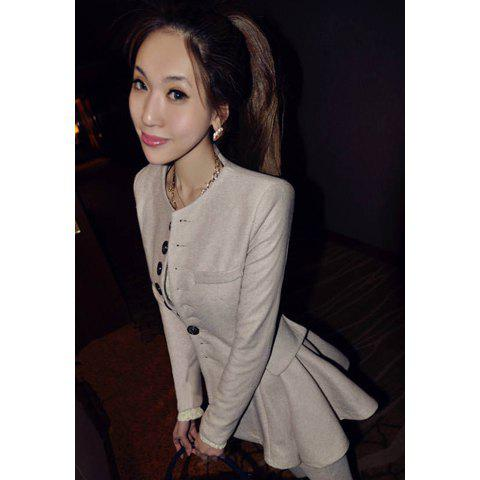 Slimming Single-Breasted Woolen Fabric Women's Coat - WHITE M