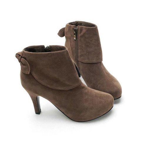 Casual Solid Color Stiletto Heel Bow Design Women's Combat Boots от Dresslily.com INT
