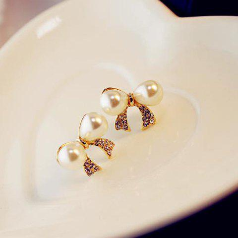 Pair of Elegant Style Rhinestone Inlaid Bowknot Shape Stud Earrings - AS THE PICTURE