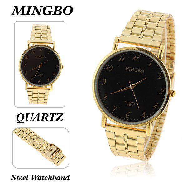 Mingbo Men's Watches with Numerals Hour Marks Black Quartz Dial Steel Band (Golden) - BLACK DIAL