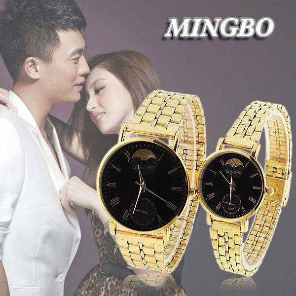 Valentine Cheap Mingbo Steel Quartz Watches for Couple with Black Round Dial in Fashion Design - Golden - BLACK / GOLDEN
