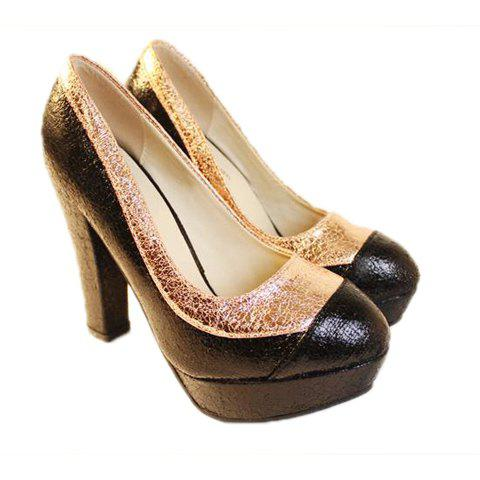 Color Block and Sparkling Glitter Design Chunky Heel Women's Pumps - CHAMPAGNE 39