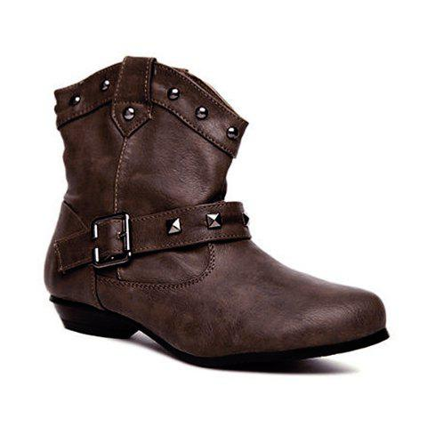 Rivet and Round Head Design Women's Short Boots - COFFEE 38