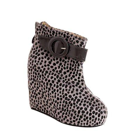 Leopard Print and Buckle Design Women's Ankle Boots
