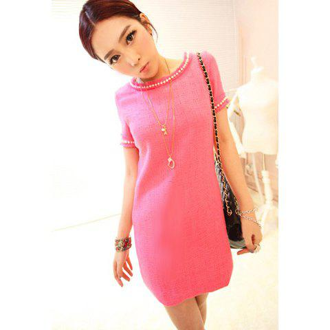 Charming Scoop Neck Imitated Pearl Embellished Short Sleeves Fibre Column Women's Dress - PINK M