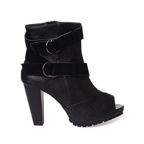 Cross Strape and Buckle Design Chunky Heel Women's Peep Toe Shoes - BLACK 38