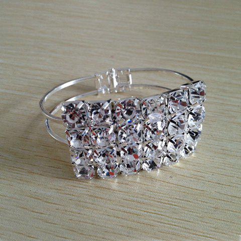 Stylish Stunning Style Rectangle Shape Dazzling Glint Rhinestone Inlaid Bracelet For Women - AS THE PICTURE