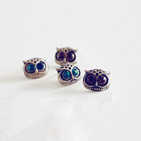 Rhinestone Inlaid Owl Shape Stud Earrings - COLOR ASSORTED