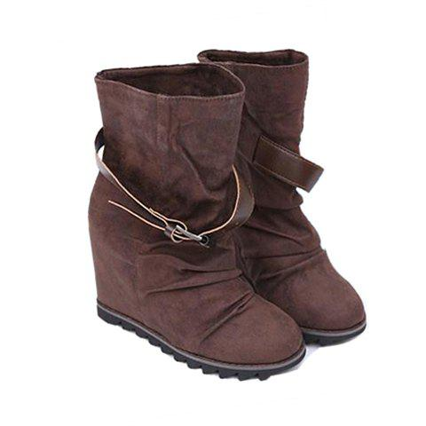 Ruffle and Buckle Design Women's Short Boots - BROWN 36