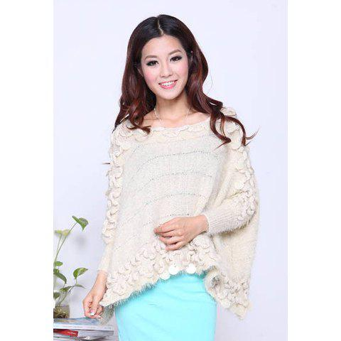 Stylish Loose Fitting Scoop Neck Hook Flower Lace Long Sleeve Women's Sweater - APRICOT ONE SIZE