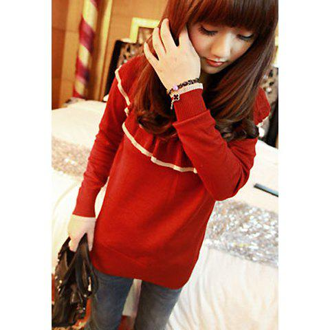 Sweet Flouncing Scoop Neck Long Sleeve Women's Sweater - RED ONE SIZE