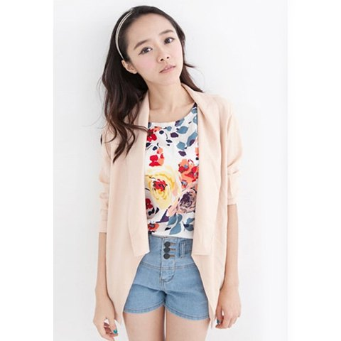 Simple Design Long Sleeves Solid Color Casual Chiffon Women's Blouse - PINK ONE SIZE