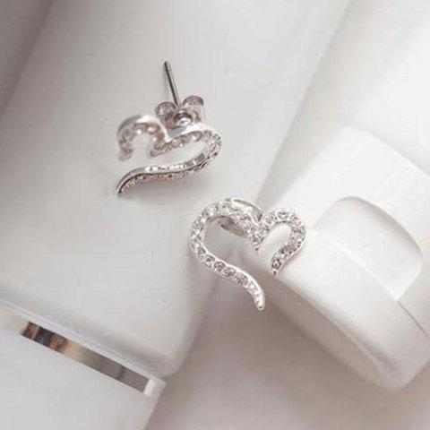 Rhinestone Inlaid Heart Shape Stud Earrings - SILVER