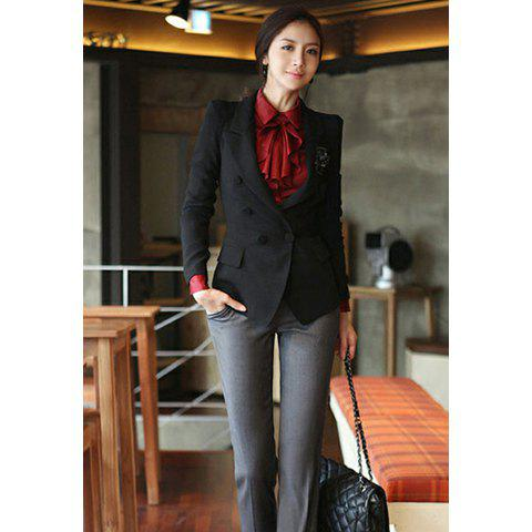 Stylish Slimming Fit Double Breasted Puff Long Sleeve Women's Suit Coat - BLACK S