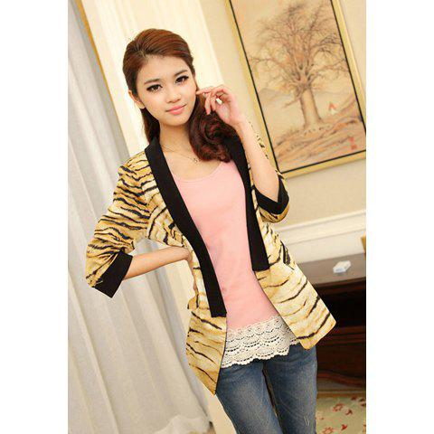 Elegant Slimming Fit Tiger Skin Print 3/4 Sleeve Women's Suit Coat - AS THE PICTURE M
