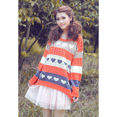 Casual Loose Fitting Scoop Neck Heart Print Hollow Women's Long Sleeve Sweater - RED ONE SIZE