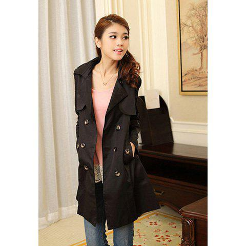 Slimming Fit Double Breasted Women's Long Wind Coat with Belt - BLACK S