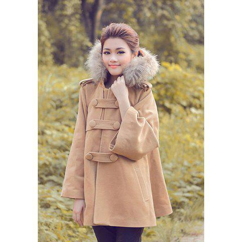 Elegant fur Collar Hooded Double Breasted Fleece Warm Long Sleeve Women's Cape Sweater