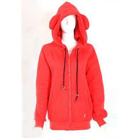 Casual Fleece and Zipper Hooded Long Sleeve Women's Hoodies - RED ONE SIZE