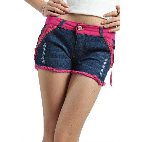 Stylish Destroy Wash Women's Denim Shorts - BLUE S