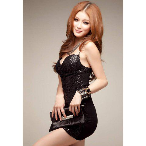 Sexy Cotton and Sequin V-Neck Sleeveless Women's Dress