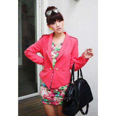 Stylish Shoulder Board Solid Color Long Sleeve Women's Short Suit Coat - WATERMELON RED L