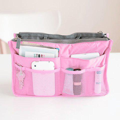 Korea Creative and Convenient Net Double Zipper Storage Bag - PINK