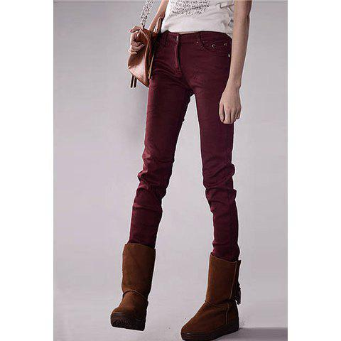 Slimming Thicken Women's Pencil Pants - WINE RED 28