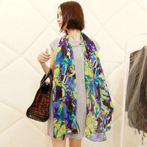Hot Sale and Graceful Colorful Carriage Print Chiffon Women's Wrap - PURPLE