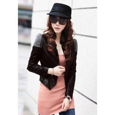 Street Style Splicing Shoulder Design Scoop Neck Women's PU Leather Jacket - BLACK L
