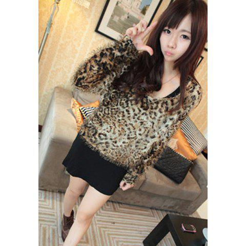 Stylish Leopard Scoop Neck Long Sleeve Women's Plush Blouse - LEOPARD ONE SIZE