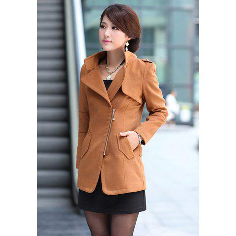 Korean Style Ladylike Shawl Zipper Woolen Comfortable Coat For Women - KHAKI M