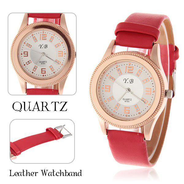 YB Red Leather Quartz Analog Watch for Women with Numerals ...