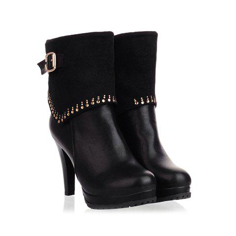 Casual Solid Color Buckles Design Women's Short Boots - BLACK 36