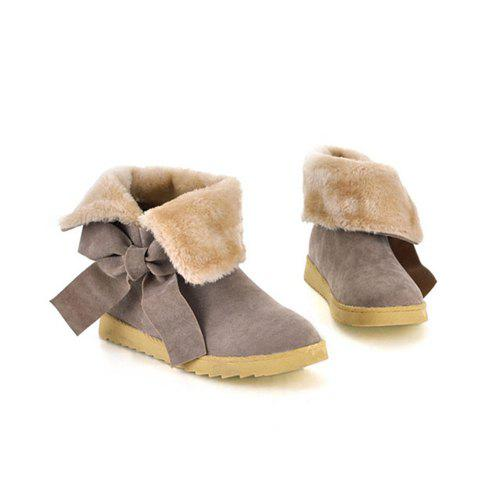 Sweet Bowknot and Imitation Fur Design Flat Heel Women's Short Boots - DEEP GRAY 37