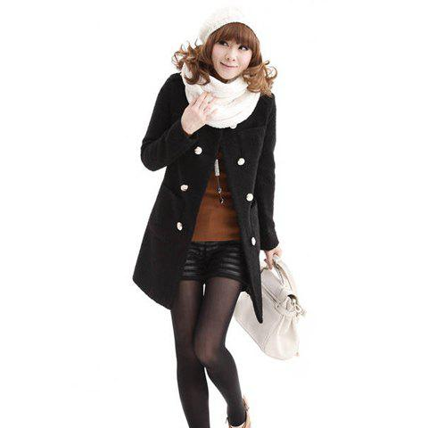 Korean Style Fashionable Long Sleeve Double-Breasted Shawl Woolen Coat For Women - BLACK M