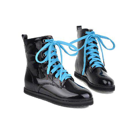 Casual Color Block and Lace-Up Design Patent Leather Women's Short Boots - BLACK 38