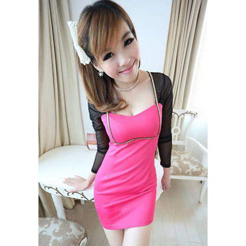 Sexy Square Neck Long Sleeve Tulle Dress For Women - ROSE