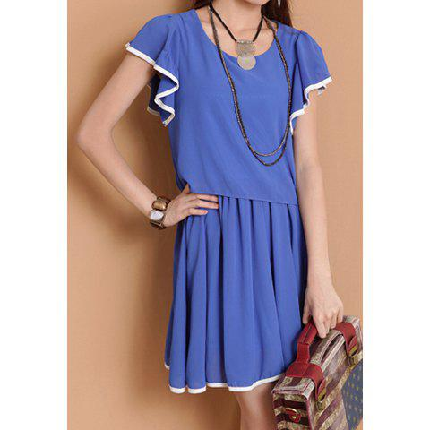 Stylish Scoop Neck Flouncing Short Sleeve Women's Chiffon Dress - BLUE ONE SIZE