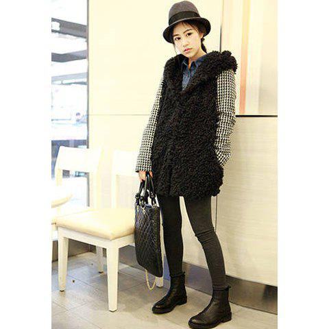 New Style Hooded Splicing Checked Long Sleeves Zipper Design Column Woolen Yarn Women's Coat - BLACK ONE SIZE