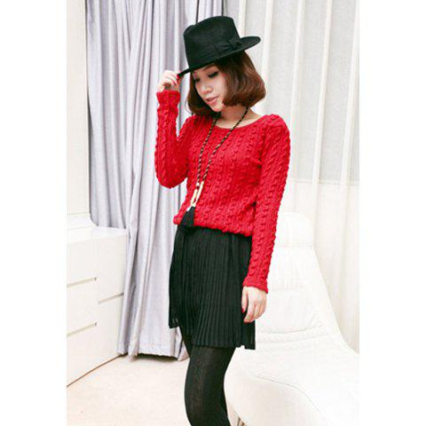 Ladylike Knitting Long Sleeve Splicing Pleated Chiffon Women's Dress - RED ONE SIZE